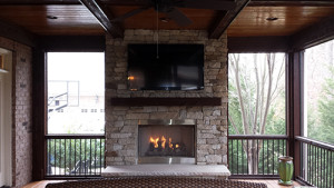 Stone fireplace and screen porch, Fort Mill, SC