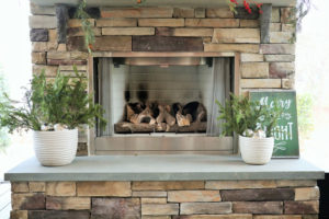 Screen Porch in Fort Mill - Fireplace